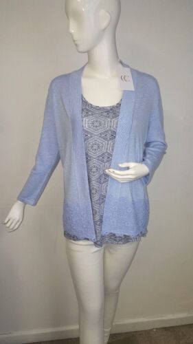 P? Country Casuals Pale Blue Lace Overlay Soft Cardigan Size S//M//XL
