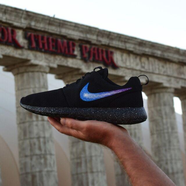 dc005e844 ... germany custom painted nike roshe one galaxy roshes run shoes mens  womens triple black 06617 56860