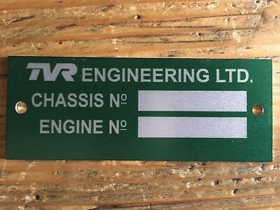 Classic TVR Chassis ID plate