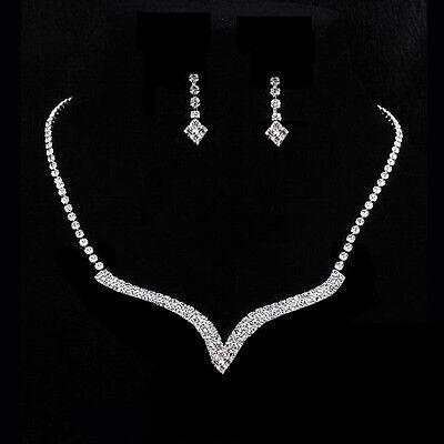 Wonderful Prom Wedding Bridal Jewelry Crystal Rhinestone Necklace Earring Sets