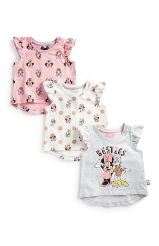 PRIMARK GIRLS DISNEY PK 3 MINNIE MOUSE DAISY DUCK T-SHIRTS BNWT ALL AGES BABY