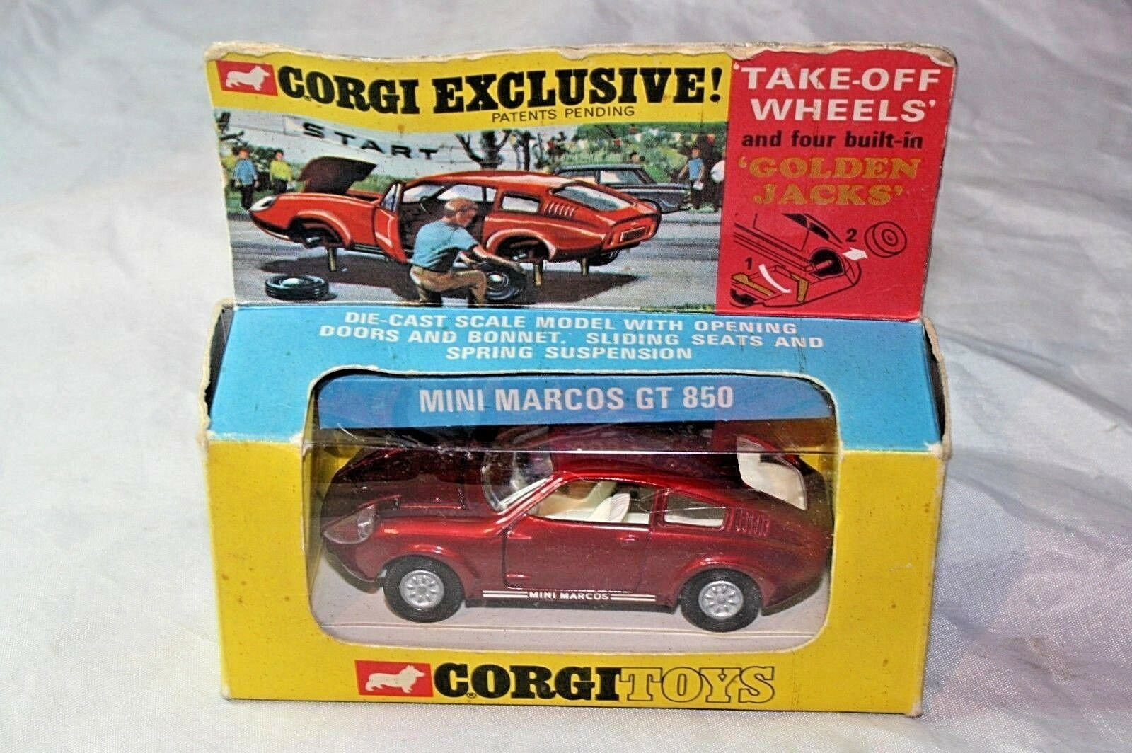 Corgi   341 mini marcos gt - 850, neuwertiger zustand in original - box