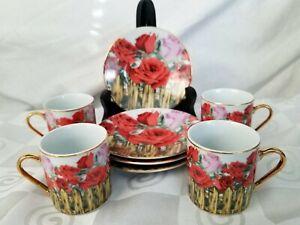 GNA-Fine-Porcelain-Demitasse-Espresso-Cup-and-Saucer-Set-of-4-Rose-Garden-Fence
