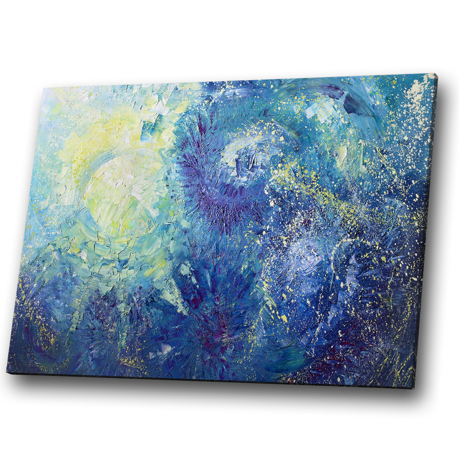 Blau Gelb Grün Weiß Cool Abstract Canvas Wall Art Large Picture Print