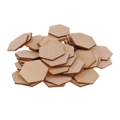 Sechseckförmige hölzerne Verzierungen formen für Handwerksdekor diy 50pcs