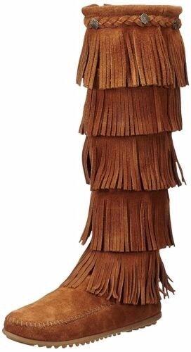 Women's Minnetonka 5-Layer Fringe ZipOn Boot Brown 1652 SIZE 11