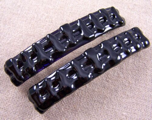 """Stained GLASS Hair BARRETTE 3.5/"""" 90mm DEEP Purple Layered Transparent Slide Clip"""