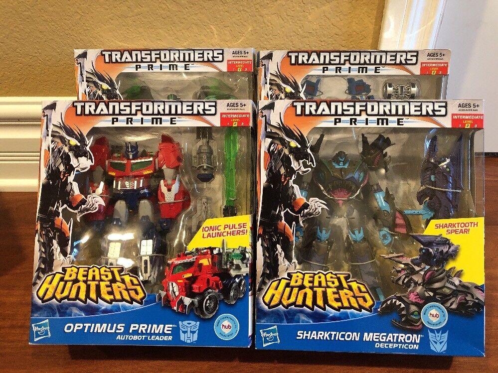 Set Of 4 Transformers Beast Hunters Optimus Prime MISB Voyager Megatron Ultra +