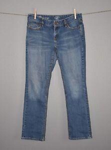 ANN-TAYLOR-LOFT-69-Light-Wash-Curvy-Straight-Denim-Jean-Size-10