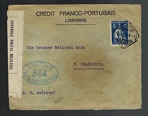 1916-Lisbon-Portugal-Censored-cover-to-San-Francisco-USA-Franco-Portuguese-Bank