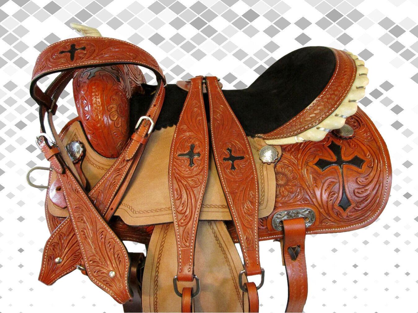 WESTERN USED SADDLE 15 16 PLEASURE HORSE TRAIL CROSS CROSS CROSS TOOLED RODEO BARREL RACING e891f3