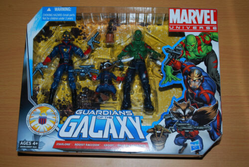 Marvel Universe Guardians of the Galaxy Starlord Rocket Raccoon Groot Drax Set!