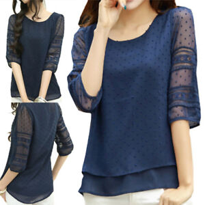 Women-039-s-Fashion-Lace-Half-Sleeve-Chiffon-Blouse-Shirt-Top-Causal-Bottoming-Shirt