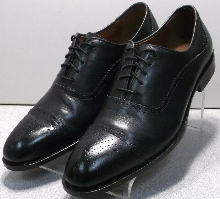 156201 MS50 Men's Shoes Size 9.5 M Black Leather Lace Up Johnston & Murphy