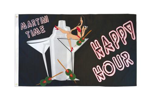 Martini Time Happy Hour Flag 3x5 Happy Hour Banner Sign Dorm Room Flag Novelty