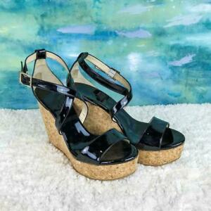 fb2ed1d474 $525 JIMMY CHOO Portia Black Patent Leather Ankle Strap Cork Wedges ...