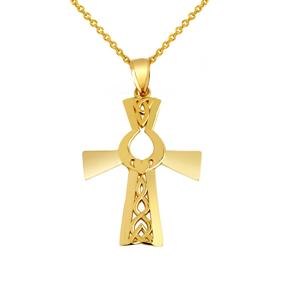Solid 10k Yellow gold Irish Cross With Claddagh Pendant