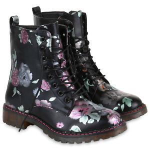 5391defbfff64c Das Bild wird geladen Damen-Stiefeletten-Worker-Boots -Blumen-Print-Outdoor-819536-