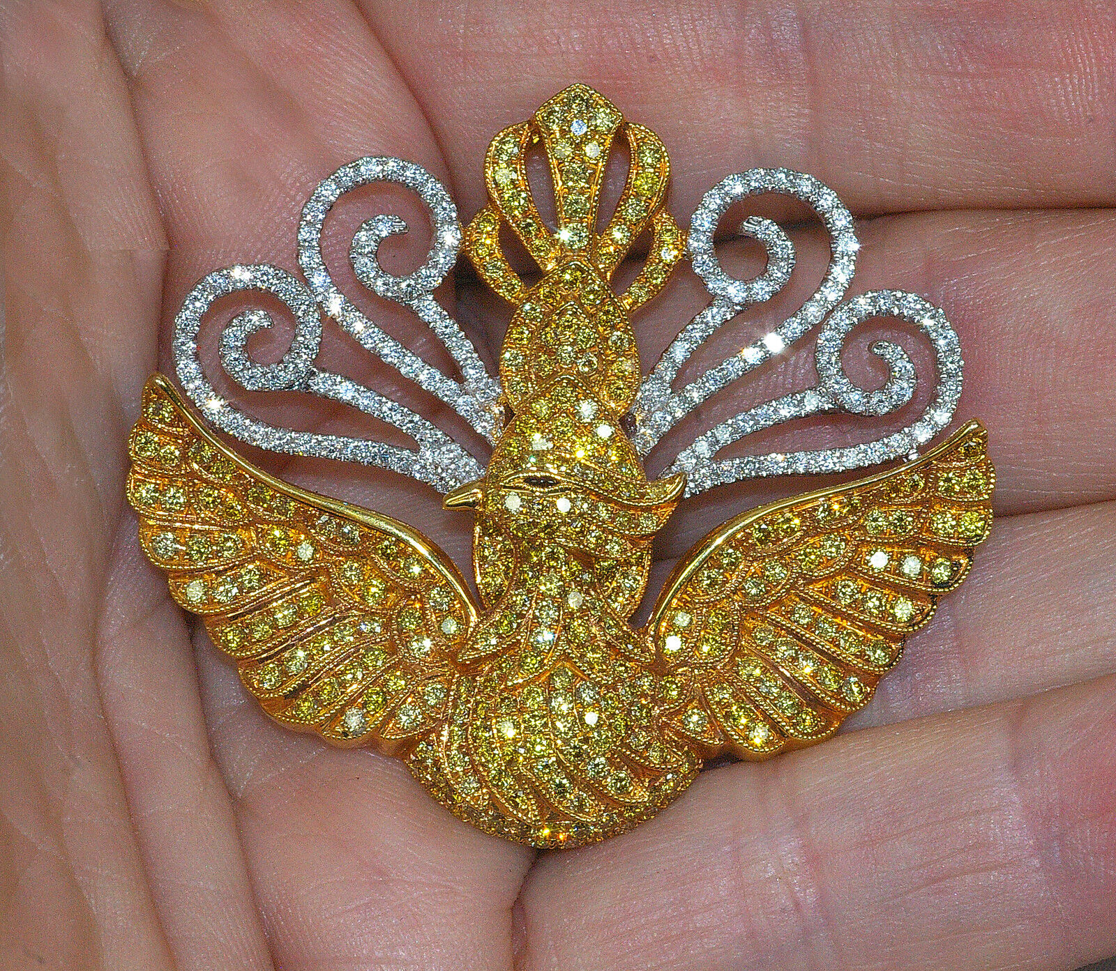 18K COUTURE 3.8c FANCY YELLOW WHITE DIAMOND ANGEL PHOENIX BIRD PENDANT BROOCH