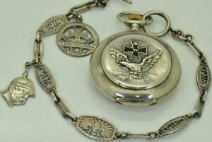 Rare-Ancien-WWI-Allemagne-Pilote-Recompense-Argent-Systeme-Glashutte-Poche-Watch