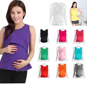 ed47f6ba4bb Image is loading Pregnant-Maternity-Clothes-Nursing-Tops-Breastfeeding -Vest-T-