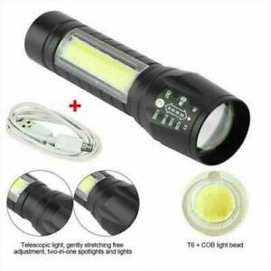 T6-COB-LED-Tactical-USB-Rechargeable-Zoomable-Flashlight-Torch-Lamp-HOT-UK