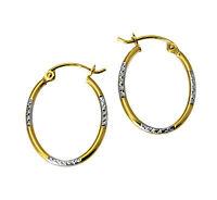 14k 2 Two Tone Gold 1.5mm Thick Diamond Cut Tube Oval Hoop Earrings