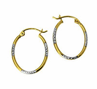 14k 2 Two Tone Gold 1.5mm Thick Diamond Cut Tube Oval Hoop Earrings