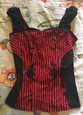 Tripp NYC Black Red Striped Lace Up Corset Bustier Top Medium EUC Rare!