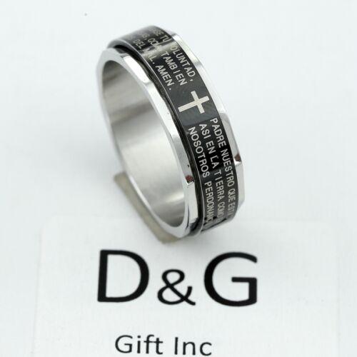 DG Men/'s Stainless Steel,BIBLE VERSES CROSS,Spinner Rings,8.9,10,11,12,13,Box