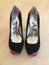 NAUGHTY MONKEY BLACK, PINK AND GRAY SUEDE HEELS SHOE SIZE 9.5