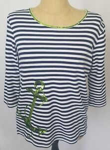 Quacker-Factory-Size-Small-Navy-Blue-White-3-4-Sleeve-Stripe-Anchor-Sequins-Top