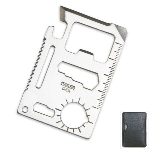 Small Survival Tool Credit Card Size Multi Purpose Device with Pouch Silver 2p
