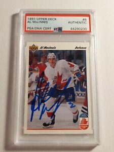 1991-Upper-Deck-Team-Canada-Al-Macinnis-PSA-DNA-authenticated-Auto-Flames-Mint