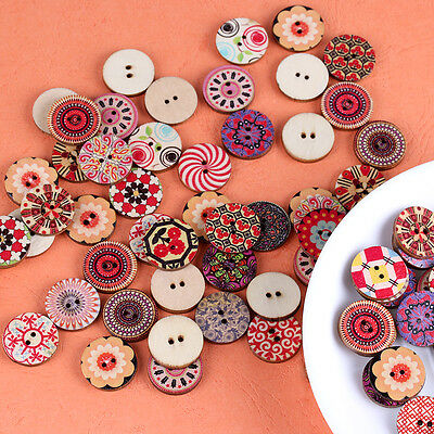 100x Cute Mixed Colorful Flowers Wood Buttons Scrapbooking Sewing Craft 20mm HOT