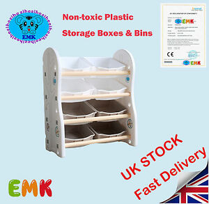 childrens kids 4 tier toy bedroom storage shelf unit 8 plastic rh ebay co uk IKEA Storage Units Shelf Storage Units for Rooms
