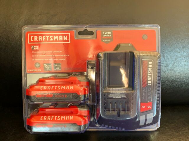 CRAFTSMAN CMCB202-2CK 2-Pack 20-V Max Batteries & Charger-NEW in CLAMSHELL-$130