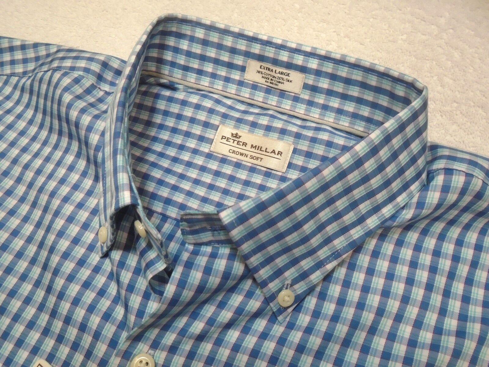 Peter Millar Crown Soft Cotton & Silk Blend bluee Plaid Sport Shirt NWT XL