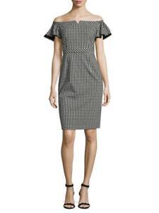 NEW 4 NANETTE LEPORE Black White Gingham Stretch Sheath Dress Off Shoulder NWOT