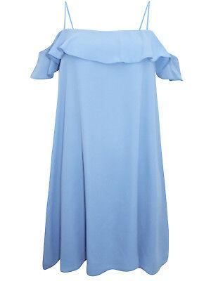 Brand New Ex Miss Selfridge Blue Sleeveless Cold Shoulder Frill Shift Dress