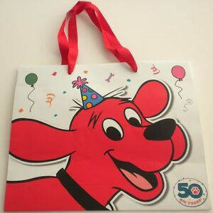 NEW-Promotional-50-Anniversary-CLIFFORD-Book-Bag-Heavy-Stock-Red-Ribbon-Handles