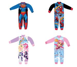 9f365766affc Kids All in One Boys Girls Fleece Character Childrens Pyjamas 18 24 ...