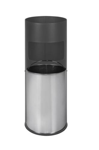 Standing Ashtray Bin Stainless Steel Ashtray 61cm 30 Litre Black Silver