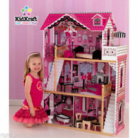 Kidkraft Amelia Wooden Kids Dollhouse Dolls House & Furniture Fits Barbie