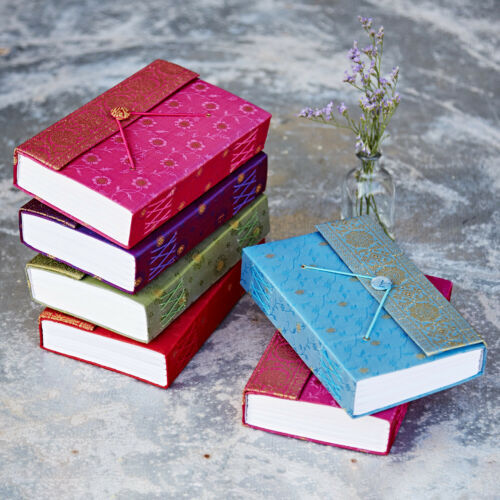 Sari Fabric Journal Notebook Diary5 Sizes 6 ColoursUnlined Recycled Paper