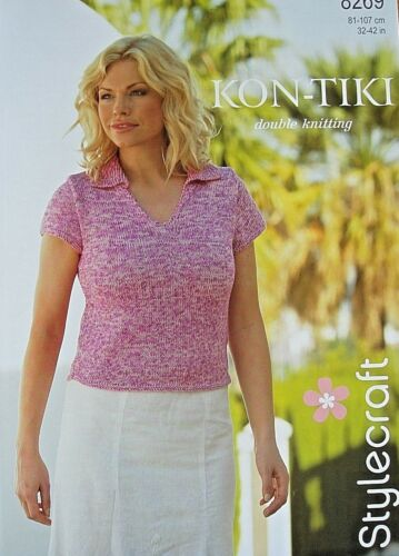 LADIES DK V-NECK CAP SLEEVE TOP KNITTING PATTERN 32//42in STYLECRAFT 8269