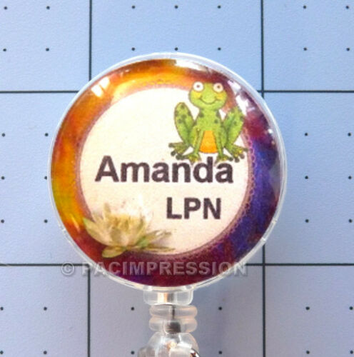 Personalized Badge Reel Retractable ID Name Card Holder Dragonfly Frog or Worm