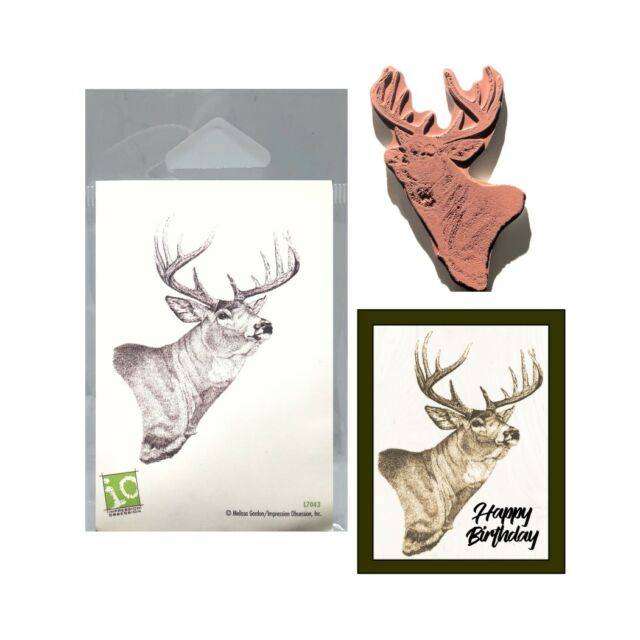 Whitetail Deer Cling Rubber Stamp Impression Obsession Stamps L7043 Animals Buck