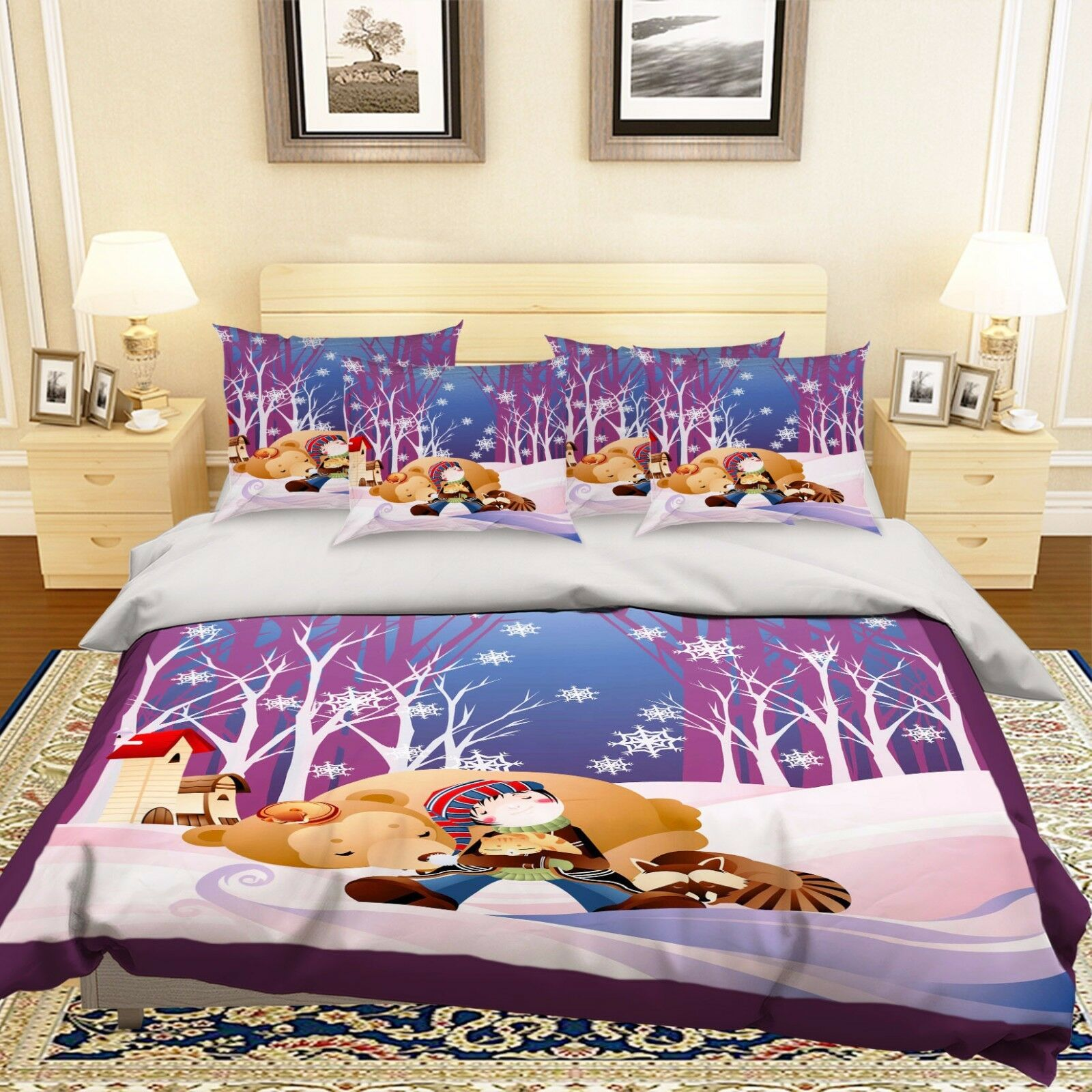 3D Snow Road 906 Bed Pillowcases Quilt Duvet Cover Set Single Queen UK Summer
