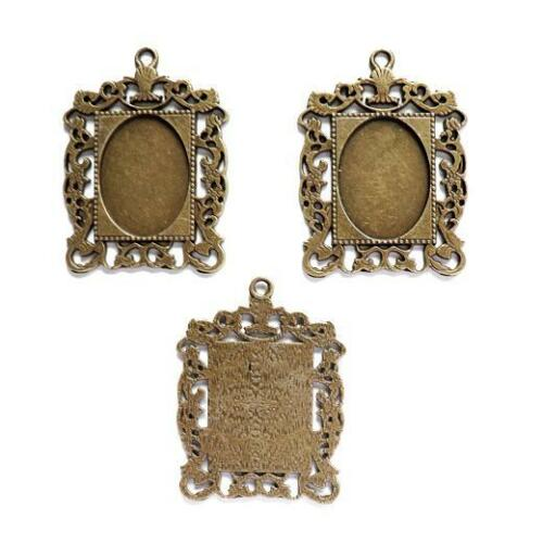 Buddly Crafts Antique Bronze Jewellery Bezels 3pcs Inset Oval 34mm x 44mm